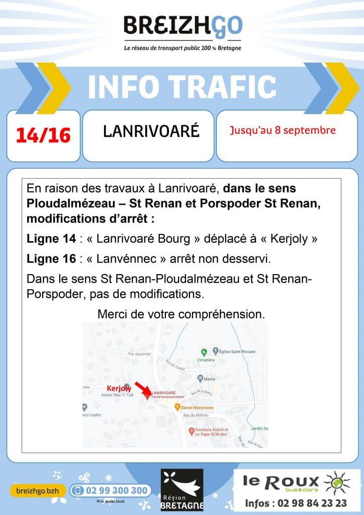 travaux à Lanrivoaré, dans le sens Ploudalmézeau - St Renan et Porspoder - St Renan, vos arrêts de bus sont modifiés