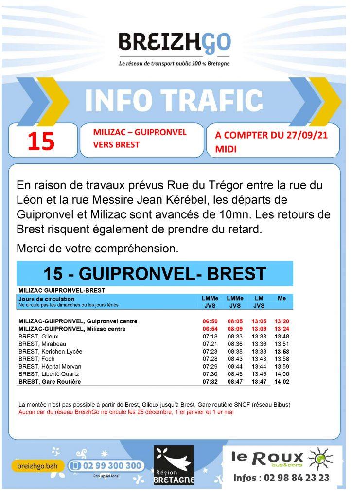 Chers usagers, Les rues du Trégor, du Léon et de la Messire Jean Kérébel sont en travaux à partir du 27 septembre. par conséquent, nous avançons de 10 minutes les départs de Guipronvel et Milizac. Nos autocars vont avoir du retard pour les retours de Brest. Merci de votre compréhension.